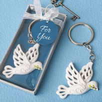 Elegant White Dove Key Ring